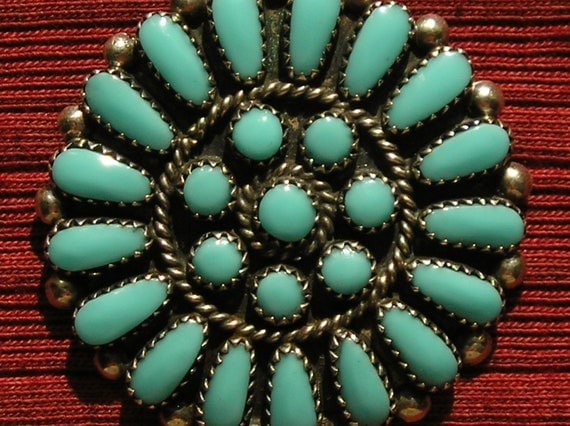 Reserved for hudsonvint, please do not purchase:) -- Native American Sterling Silver Petit Point Turquoise Sunburst Pendant / Pin Necklace