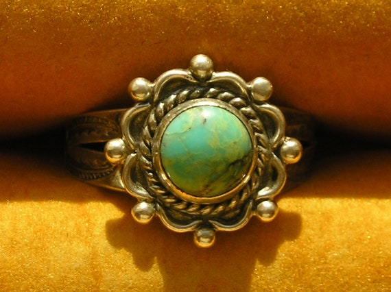 Stamped Southwest Sterling Silver Turquoise Scroll Ring