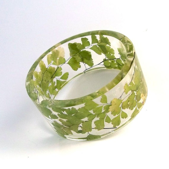 Maidenhair Fern Plant Resin Bangle Bracelet