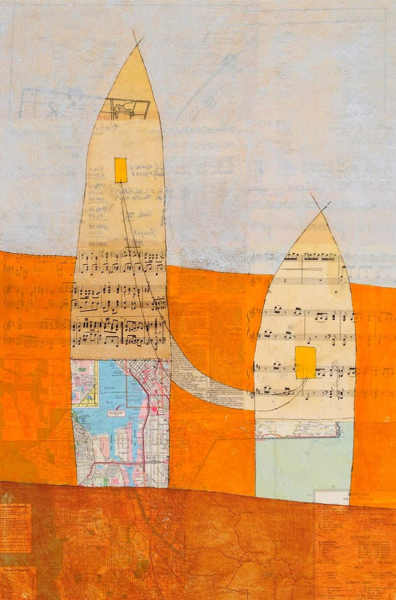 Fine Art Greeting Card - Homes - Connection - Sheet Music - Maps - Mixed-Media Encaustic Painting by Janet Nechama Miller