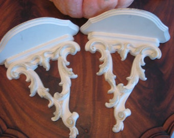 Vintage Syrocco Shelf Shelves Ornate Shabby Decor Carved Flowers Chic Wall Shelf White Cottage Style 1960 Era USA VGC