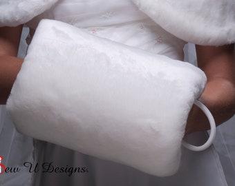 Super Size faux fur muff Winter wedding hand warmer  Available in white, diamond, black or cream faux fur