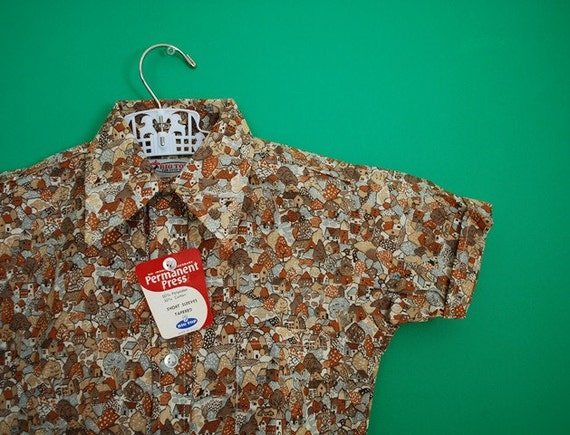 Vintage 1960s 1970s New Old Stock Boy's Shirt with Town Print- Size 6