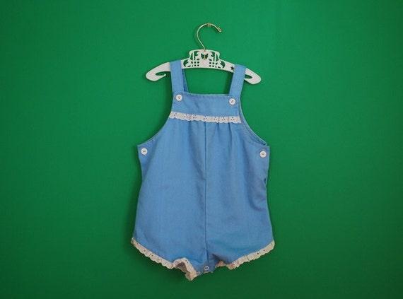 Vintage Toddler's Cornflower Blue Romper by Carter's- Size 24 Months
