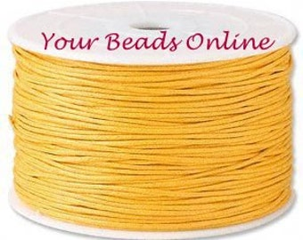 Wax Cotton Cord 1mm Gold Yellow 8 yards or 24 feet 28 Colors Availables