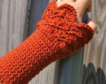 Lace Arm Warmers, Crochet Arm Warmers, Crochet Fingerless Gloves in Spice Rust Red