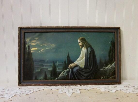 vintage Jesus Christ on Mount of Olives by Giovanni, framed religious print, dark blue, white, & gold