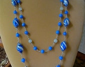 Rich Azure/Winter White Porcelain Necklace
