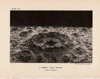 1891 MOON CRATER PRINT original antique celestial astronomy print