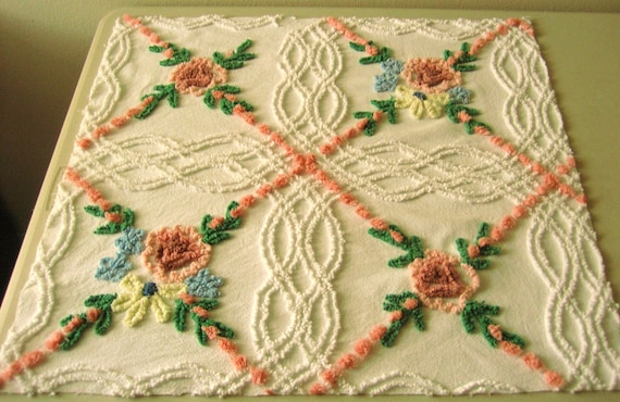 Vintage Chenille Bedspread Fabric CC Roses and Wildflowers