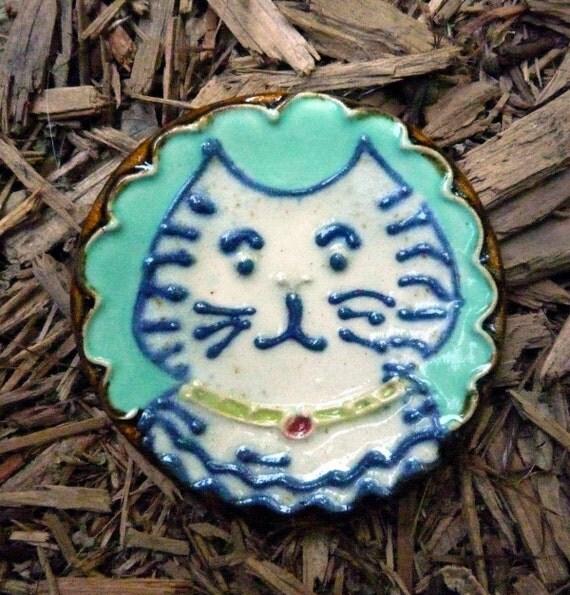 Striped Kitty Cat Teaspoon Rest Stoneware
