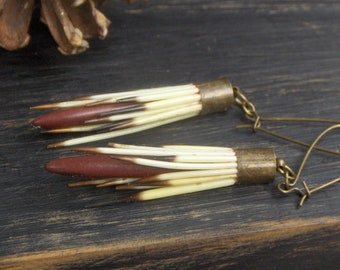 Quill and dagger. Long Porcupine Quill and Jasper rustic  earrings