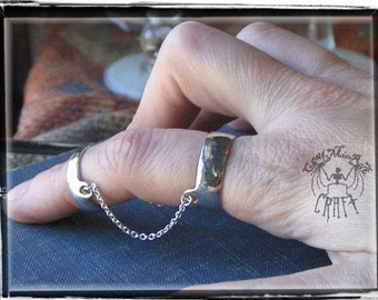 You Belong To Me. Sterling silver & chain connected Wide Band double rings 2 finger-.  READY to SHIP size 7 and size 4 bands