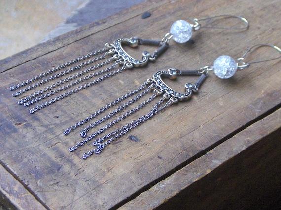 Gypsy Crystal Rain. Decadent Shoulder Duster Fringe Earrings