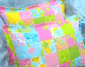 """Pair Custom Made Boudoir Pillow Shams - LILLY  PULITZER """"RETIRED"""" Fabric - """"Patchwork"""" - 300 Thread Count"""