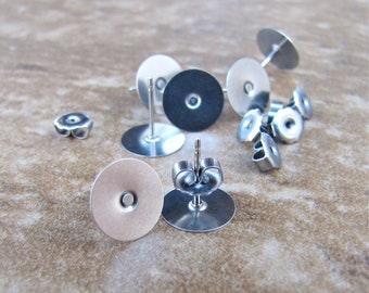 50 pcs 10mm Surgical Stainless Steel Flat Pad Earring Posts and Backs jewelry finding supplies