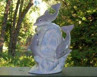 Vintage Playful Dolphin Ocean Porcelain Figurine