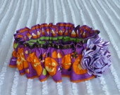 """Custom for CathyW - Jack O Lantern Halloween Dog Collar Scrunchie with flower - Size XXL 20"""" -22"""" neck"""
