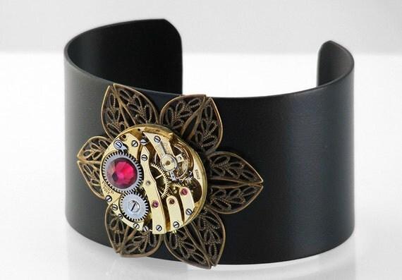 Steampunk Cuff, Matte Brass Vintage Watch, Filigree Flower & Ruby Crystal - Black Metal Cuff