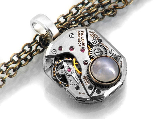 Steampunk Necklace, Natural Catseye Moonstone & Bulova Vintage Watch Movement - Long Chain Necklace