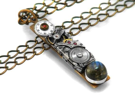 Steampunk Necklace, Labradorite Cabochon & Vintage Watch - Long Chain Necklace