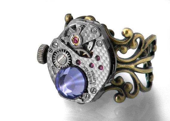 RESERVED FOR RACHAEL Steampunk Ring, Tanzanite Crystal & Vintage Watch Mechanism - Adjustable ring