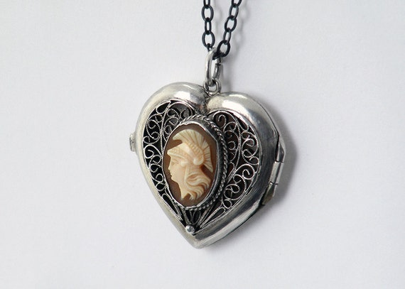 Vintage Sterling Silver Locket, Filigree Silver Heart Locket with Cameo - Sterling Silver Chain Included / Valentine's Day