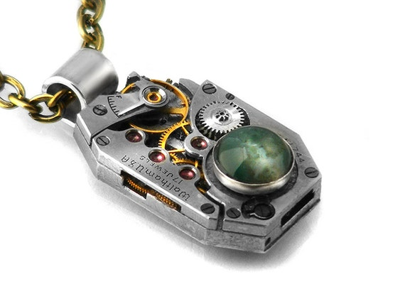 Moss Agate Steampunk Necklace, Waltham Vintage Watch Movement - Long Chain Necklace