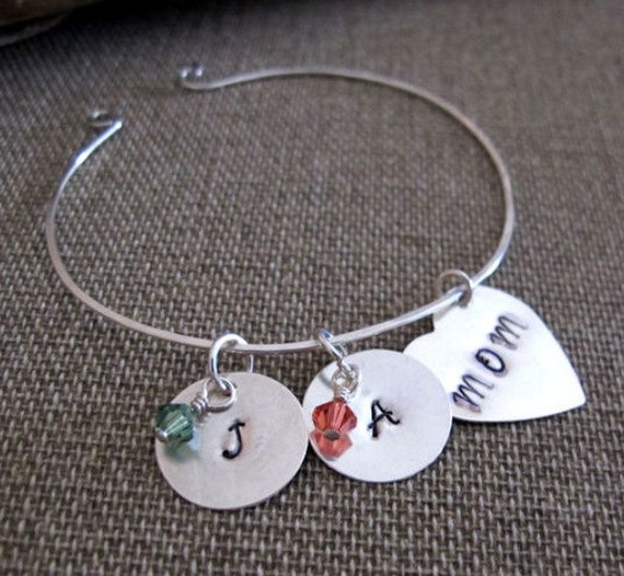 Personalized Mom Bangle Bracelet - Hand Stamped Cuff Bangle Charm Bracelet - Sterling Silver Heart Initial Bracelet