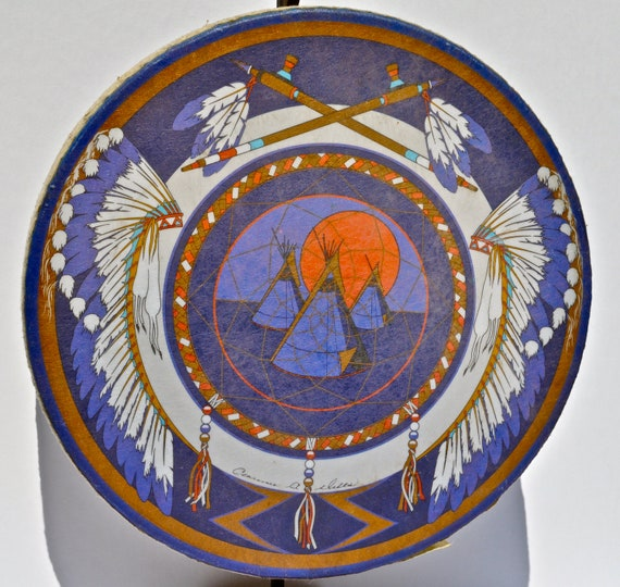 Native American Drum Artist Signed Handmade Tribal