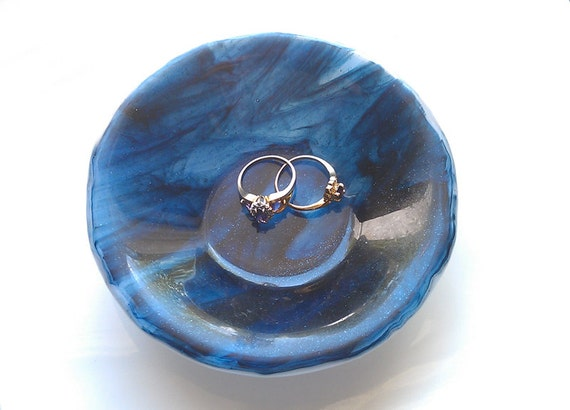 RESERVED Ring Bowl, Glass Dish, Midnight Blue, Swirl Pattern, Home Decor, Fused Glass