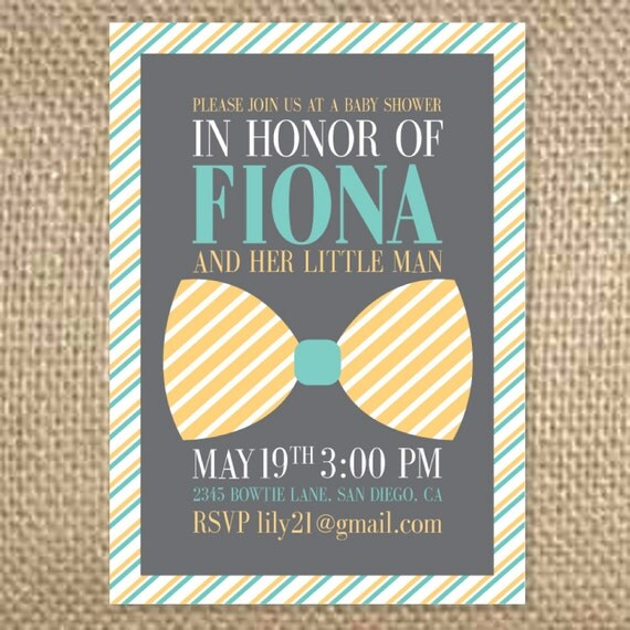 Bow Tie Baby Shower Invitation By Uluckygirl On Etsy