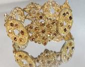 Vintage Rhinestone Bracelet. Gold Tone. Gold & Amber Rhinestones.