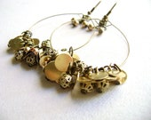 Hoop golden earrings - Fabulously - golden antique bronze glam big earrings
