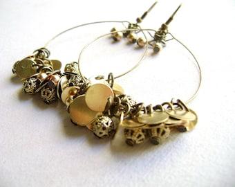 Hoop golden earrings - Fabulously - golden antique bronze glam big earrings