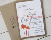 Palm Tree Wedding Invitation - Rustic Vintage Beach Hawaiian Ocean Tropical Twine. Purchase this Deposit to get started.