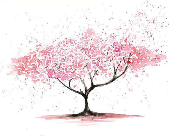 Cherry Tree  -Landscape painting-Watercolor-Archival Print from my original watercolor painting 10x8 inch