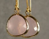 Pink Ice Glass Gold Bridesmaids Earrings, Wedding Earrings, Gold Earrings, Bridesmaid Gifts (4250)