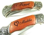 Engraved Heart Rosewood Handle Pocket Hunting Knife Personalized Groomsman Groom Gift Keepsake