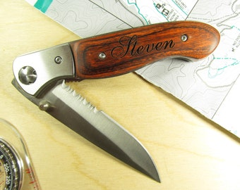 Engraved Wood Handle Pocket Knife with 4 Inch Half Serrated Blade Personalized Groomsman Best Man Ring Bearer Usher Wedding Gift Keepsake