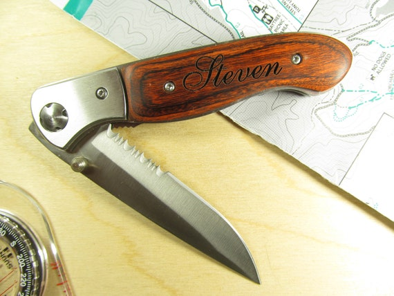 wooden pocket knife engraved 3