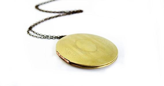 Vintage Oval Large Brass Locket Necklace