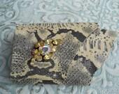 Custom OOAK Python printed Calfskin leather Cuff Bracelet
