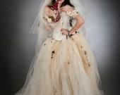 Custom Size ivory Moss and Tulle burlesque prom dress Zombie Corpse Bride with veil costume Sizes S-XL