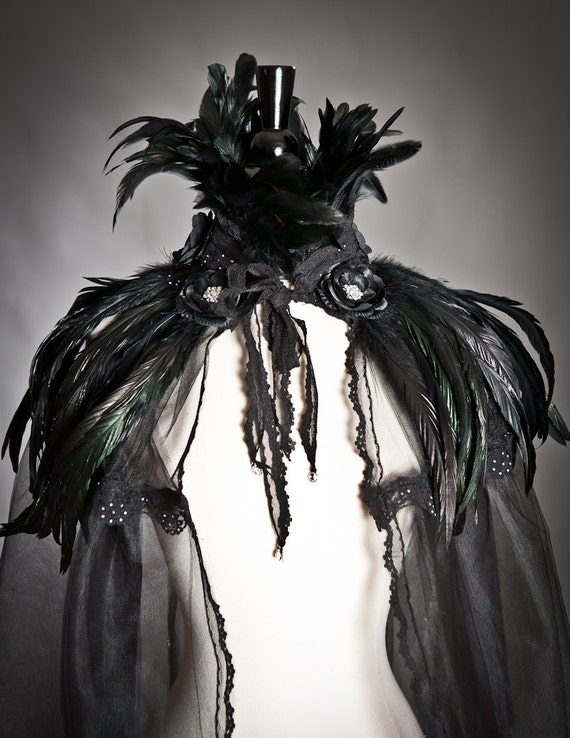 One size Black Cape Ready to Ship High feather collared with black rose trim tulle and lace Cape Perfect for Halloween