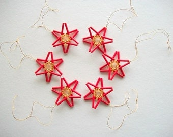 Red Star Ornaments Hand Beaded Christmas Tree Decoration 6 Pieces