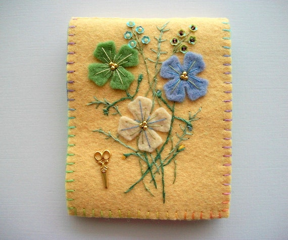 Yellow Needle Book with Pastel Coloured Felt Flowers Hand Embroidery