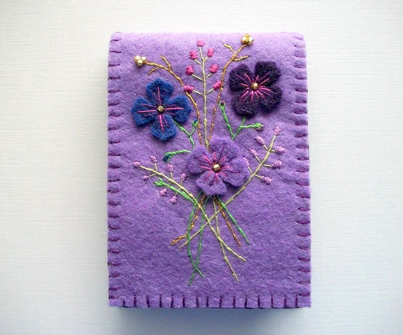 Purple Needle Book Felt Organizer with Flowers and Hand Embroidery