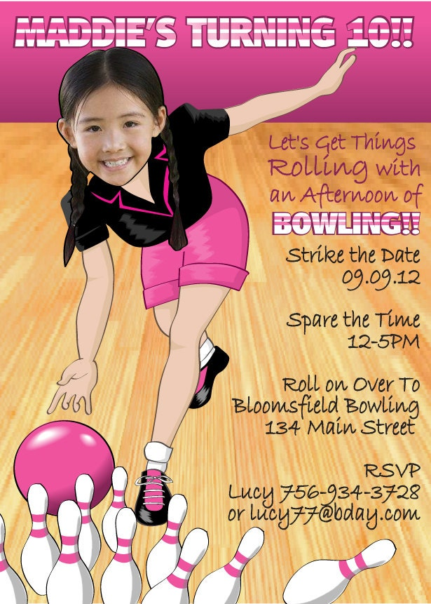 Girl Bowling Birthday Party Invitations was adorable invitation example