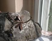 Vintage style bracelet or anklet dragonfly antiqued copper